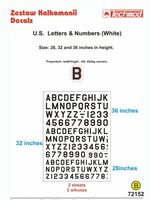 U.S. Letters & Numbers White (size 28,32 i 36 cali) - Image 1